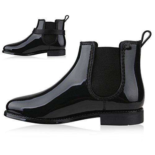 Damen Stiefeletten Chelsea Boots Lack Quasten Gummistiefel Schuhe Schwarz