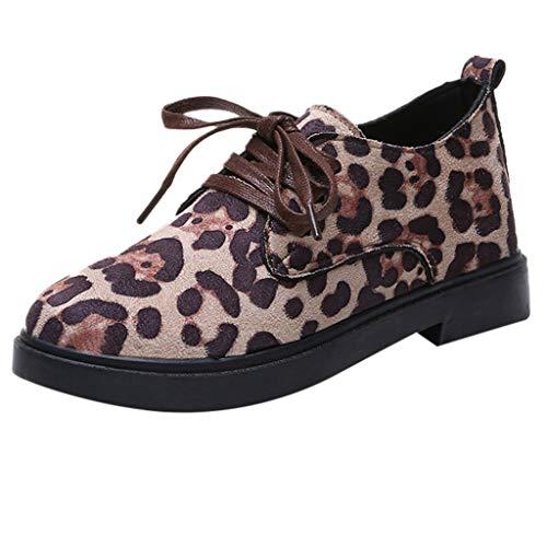 Yvelands Damen Runde Zehe Flock Schnürschuhe Quadratischer Absatz Jobs Einzelne Schuhe Freizeitschuhe(CN-37,Beige)