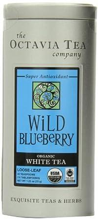 Octavia Tea Wild Blueberry (Organic White Tea) Loose Tea, 1.23-Ounce Tins (Pack of 2)