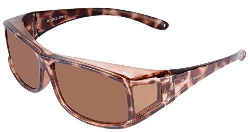 Rapid Eyewear Überbrille POLARISIERTE SONNENÜBERBRILLE für Damen Brillenträger. Moderne Schildpatt Aufsteck Sonnenbrille. Ideal Radbrille, Autobrille etc. UV400 Schutz. Überzieh Sonnenbrillen