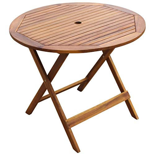 Tidyard Outdoor Dining Set Wooden Folding 5 Pieces Round Table and Useful Chairs Garden Furniture Acacia
