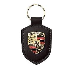 Idea Regalo - Portachiavi Porsche Scudo Pelle, per 911Panamera Cayenne, Colore: Nero
