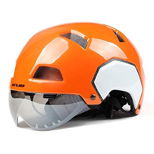 FOONEE Mountain Bike Helm, Skateboard Helm Road Bike Helm mit Visier, die Hälfte Helm für Damen/Herren, Bright Orange White, Large