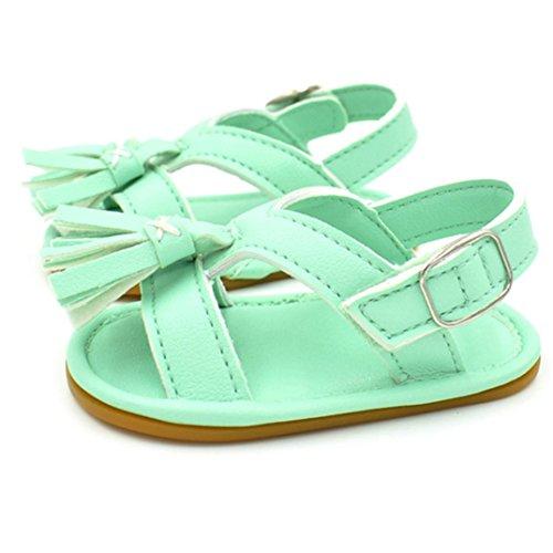 BZLine® Baby Neugeborenen Quaste Walking Schuhe Sandalen Soft Shoes Non-Slip shoes Grün