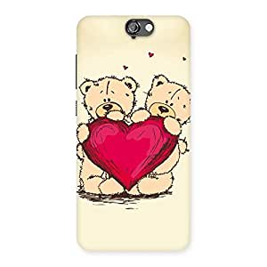 Cute Cute Heart Twin Teddy Back Case Cover for HTC One A9