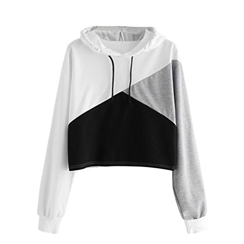 ESAILQ Damen Mode Crop Tank Tops Ärmelloses T-Shirt Gestreiftes Camisole(L,Weiß)