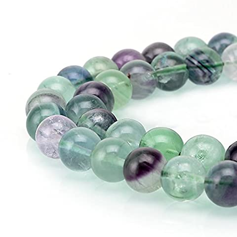 bRCbeads Gorgeous Natural Gemstone Round Loose Beads 15.5 inch 1 Strand for jewelry making 4mm Mix color Flourite
