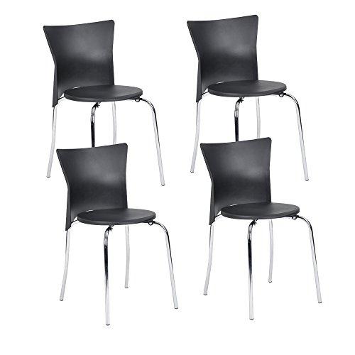 NAVY-mobili-nuovo-prodotto-Offerta-Speciale-4-sedie-da-cucina-impilabili-nero-con-gambe-Metale