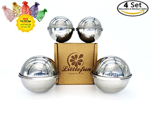 Littlefun 304 Stainless Steel Bath Bomb Mold with 2 Sizes 4 Sets 8 Pieces Hemispheres for Making Your DIY Craft Soap ✮Unique Design Latch for Large Mold ✮ Mix Your Own Recipes ✮ Free 2 Gift Bags