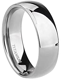 a33bd683b927 SJ Fashion 6mm Titanium Mens Womens Plain Dome Polished Wedding Band Ring  Size J-Z4