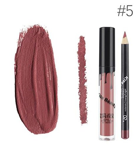Kiss Beauty Matte Liquid Lipgloss Lipstick and Lip Liner (Shade 5)