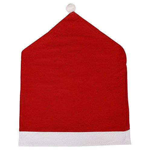 Beautyrain Weihnachten Stuhlhussen, Weihnachtsmann Cap Stuhl Rücksitzabdeckung Red Hat Stuhl Zurück Abdeckung Christmas Dinner Table Party Decor - Red Dinner-stühle