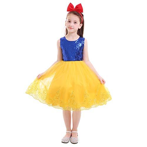 FYMNSI Kinder Schneewittchen Kleid Mädchen Märchen Prinzessin Snow White Verkleidung Pailletten Tüllkleid Festliches Geburtstag Partykleid mit Stirnband Halloween Weihnachten Cosplay 6-7 Jahre