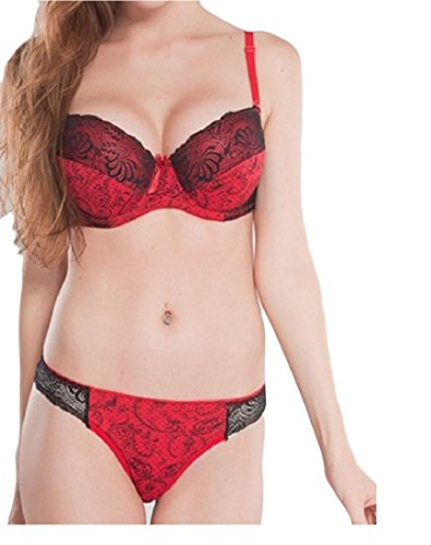 Beeatree Women Mulit Color Comfort Plus Size Lace Intimates Bra and Panty Set