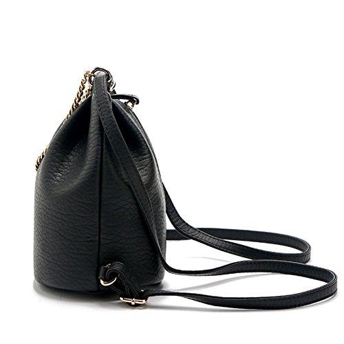 Freizeit Eimer Pu Tasche Mini Kordelzug Schultertaschen Reißverschluss Umhängetaschen Damen 18*14*20cm Schwarz