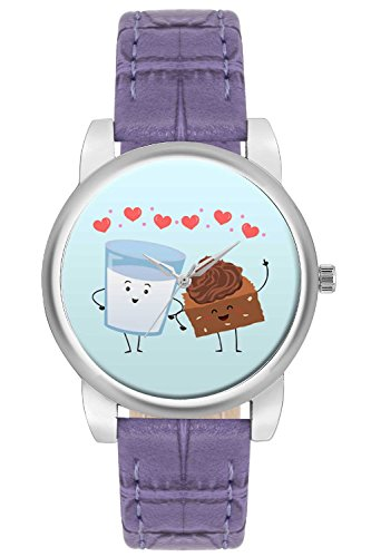 Women's Watch, BigOwl Cake And Milk Cute Illustration Designer Analog Wrist Watch For Women - Gifts for her dials