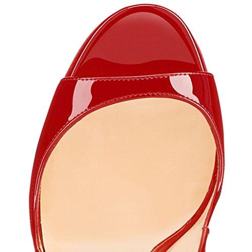 EDEFS Femmes Artisan Fashion Sandales Décolletés Bout Ouverts Chaussures à talon haut de 120mm Noir A-red
