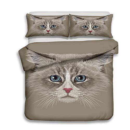 GSANSAN Jugendliche Raumdekoration Bettbezug und Kissenbezug 3D-Bettwäsche-Set 3tlg Baumwolle Digitaldruck (Farbe : K, größe : 1.5M) -