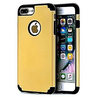 iPhone 7Plus Case, casehq Extreme Heavy Duty Schutzhülle TPU PC Bumper Hülle Kratzfest stoßfest Robuste Schutz Cover aus Weichem Gummi für Apple iPhone 7Plus Handy Gold/Schwarz