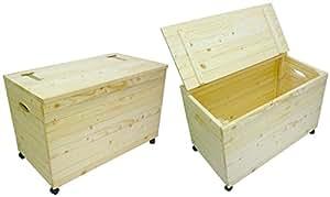 holztruhe sitzbank mit rollen f r w sche spielzeug oder werkzeug k che haushalt. Black Bedroom Furniture Sets. Home Design Ideas
