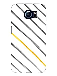 Samsung S6 Cover - Gold Stripes Diagonal - Designer Printed Hard Shell Case