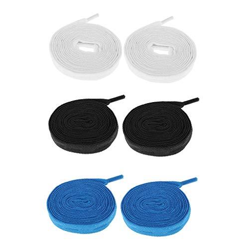 Toygogo 3 Paar Skates Schnürsenkel Roller Inline Skateschuhe - Schwarz Blau Weiß