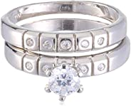 Azaleas Twins Ring 925 Silver Caliber Rhodium Plated, Inlaid With Zircon Stone
