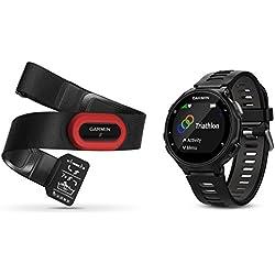 Garmin Pack Forerunner 735XT + Ceinture HRM-Run - Montre GPS Multisports avec Cardio Poignet - Noir et Gris