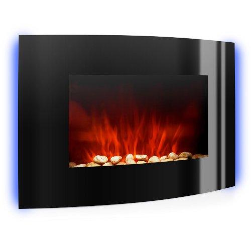 Klarstein Lausanne camino elettrico con sistema di aereazione per il massimo del calore (2000 Watt, con telecomando, retroilluminazione a LED, parte anteriore in vetro brillante, effetto riscaldante) - nero