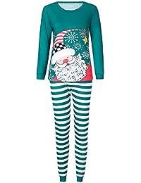 K-youth Ropa Familiar Navidad Manga Larga Santa Claves Impresión Camisetas Tops y Pantalones Ropa de Dormir de Navidad para Familia