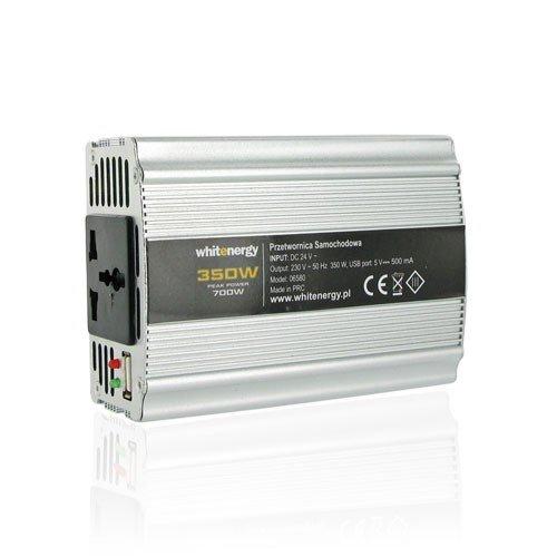 WHITENERGY® 350W modifiziert Sinus Wechselrichter 700W Peak Power DC 12V auf AC 230V Spannung Konverter, 1x 230Volt Universal Haushalts Steckdose, 1x USB-Port DC 5V, 500mA, Ausgang AC 230V, Input DC 12V -