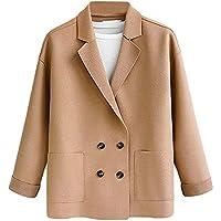 Luckycat Botón de la Camisa de Abrigo Suelto de Bolsillo sólido para Mujer de tamaño Extra Grande Outwear Casual