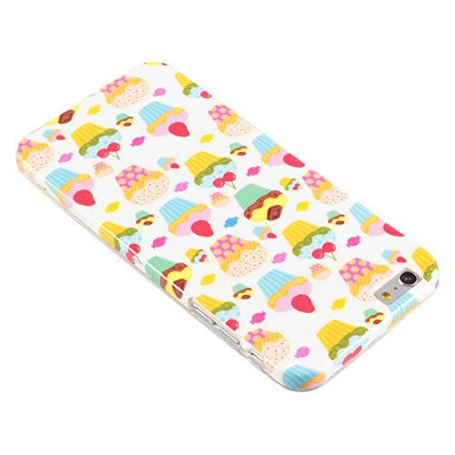 "deinPhone Apple iPhone 6 6S Plus (5.5"") KUNSTLEDER FLIP CASE Hülle Tasche Eulen Happy Family Bunte Cupcakes"