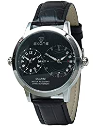 Skone 9142-3 Multifunction Black Dial Leather Strap Wrist Watch / Casual Watch - For Men's