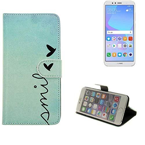 K-S-Trade Huawei Y6 (2018) Dual-SIM Hülle Wallet Case Schutzhülle Flip Cover Tasche bookstyle Etui Handyhülle ''Smile'' türkis Standfunktion Kameraschutz (1Stk)