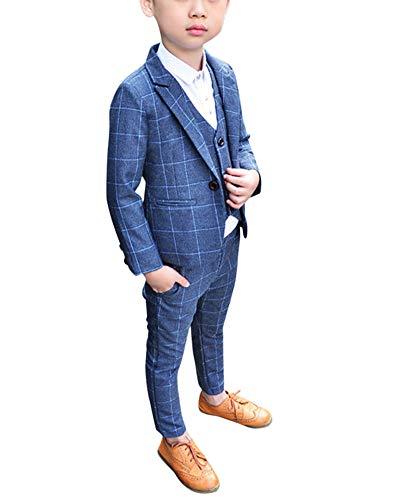 Jungen Anzüge Kinder Schlanke Passform Klassisches Kariertes Anzug-Set Mit Jacke Weste Und Hosen Grau 90 -