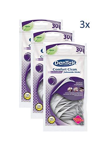 3 x 30 Stk. Dentek Comfort Clean Zahnseide Sticks, speziell für Backenzähne, Zahnreinigung der hinteren Zahnzwischenräume, Zahnseide mit Minzgeschmack, Zahnstocher