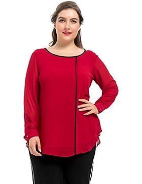 [Patrocinado]Chicwe Blusas Tops Tallas Grandes Mujeres Camiseta con Forro Espalda Plisada 1X-4X