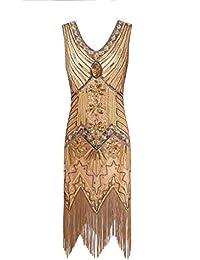 Metme Women s 1920s V Neck Beaded Fringed Gatsby Theme Flapper Dress for  Prom ec75e09de