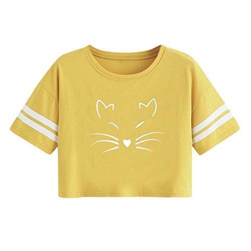 TUDUZ Tops Damen Sommer T-Shirt mit Katze Gedruckt Tank Kurzarm O-Ausschnitt Shirt Bluse Crop Tops - Leder Jacke Katze Kostüm