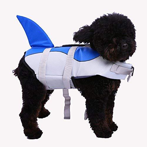 QBLEEV Schwimmweste für Hunde, Hai, Schwimmweste für kleine mittelgroße und große Hunde, Badeanzug mit verstellbarem Sicherheitsgurt am Strand, Boot, M(Chest = 17.3-25.2 inches), blau