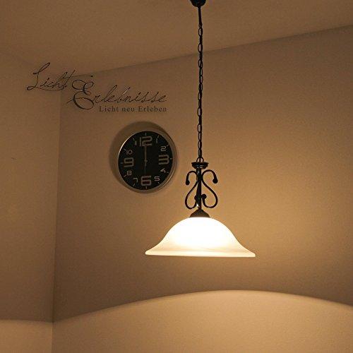 mattschwarze Hängeleuchte mit Alabasterglas 1/4/754 Deckenlampe Landhausstil Pendelleuchte Pendelampe für Esszimmer Wohnzimmer Küche