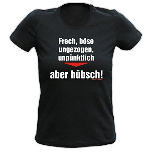Witziges Spaß-Shirt Damen + gratis Fun-Urkunde:Girlie T-Shirt: Frech, böse, ungezogen, unpünktlich, aber hübsch Schwarz