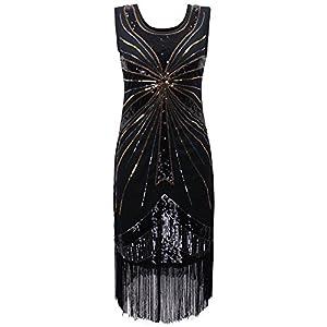 PrettyGuide Women 1920s Vintage Beads Sequin Fireworks Fringed Flapper Dress
