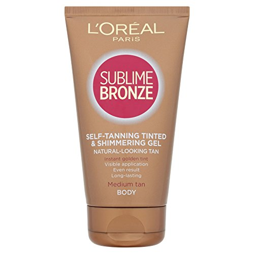 6 x L'Oreal Paris Dermo-Expertise Sublime Bronze Self-Tanning Gel Tinted & Shimmering Body 150ml -