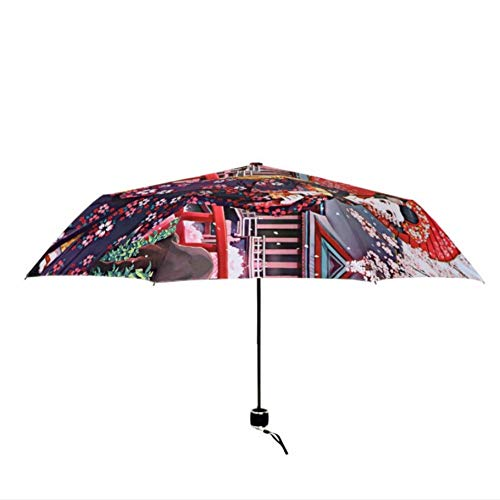 Geisha Japonesa Kimono Chica Tres Paraguas Plegable
