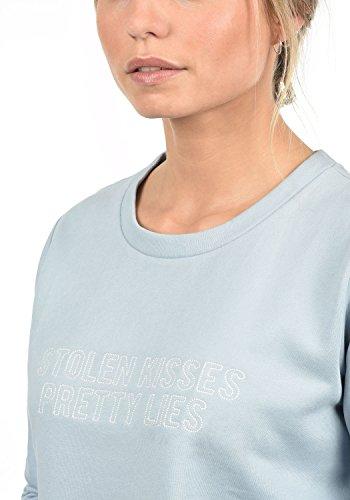 JACQUELINE de YONG by ONLY Taylor Damen Sweatshirt Pullover Sweater mit Rundhals-Ausschnitt und Stickerei aus hochwertiger Baumwollmischung Celestial Blue