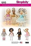 Simplicity 1243Größe OS Ballerina und Dance Kleidung für 18Puppe, Schnittmuster, mehrfarbig