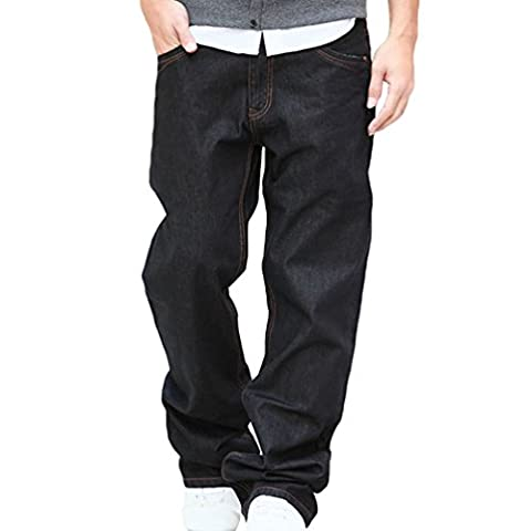 NiSeng Men's Loose Jeans Casual Straight Jeans Fashion Baggy Fit Jeans Black 40