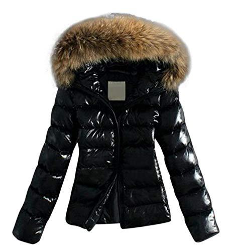 Aceshin Damen Felljacke Schwarz Steppjacke Mantel Winter Jacke Plüschjacke Warm Faux Winter Pelzmantel Outwear Kurz Coat mit Kaputz